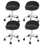 Set of 4 Rolling Swivel Stool w/Wheels Adjustable Beauty Salon Tattoo Facial Massage Spa Stools Chair with Back Support