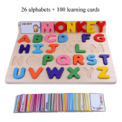 Rolimate 26 Alphabets Home Preschool Early Educational Development Colourful Wooden Puzzles, Birthday Gift Toy for Child Kids Toddlers Baby Boys Girls