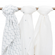 Muslin Baby Swaddle Blankets, 44x44 (3 Pack) White, Plus, Waves, Grey/White, Small Winks