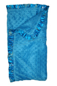 My Blankee Solid Turquoise Velour with Floral Satin Border Baby Blanket