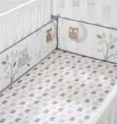 Cuddletime Starry Night Owls Crib Bumper, Grey