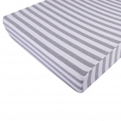 Premium Fitted Crib Sheet, EXTREMELY SOFT & BREATHABLE, Fits Perfectly Any Crib Mattress and Toddler Bed up to 15cm , Unisex Grey-White Striped