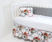 ROCKINGHAM ROAD,CRIB BEDDING SETS,BRISTOL ROSES(SO PRETTY) MIX 2PC SET ()REVERSIBLE CRIB BUMPER AND CRIB SKIRT(AWESOME DEAL)PROUDLY MADE IN THE USA