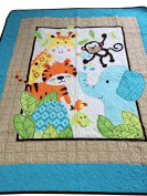 Crazy Cart Cotton Elephant and Tiger Pattern Quilted Quilt Baby Crawling Mat Bed Sheets 110cm x 130cm