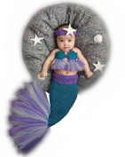 Newborn Baby Girl Knitted Costume Outfit Photography Props Mermaid Headband Bra Tail Purple