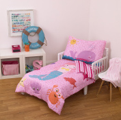 Little Tikes 4 Piece Mermaid Toddler Bedding Set, Fuchsia/Pink, 130cm x 70cm