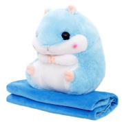 YINUOWEI Cute Hamster Plush Pillow Stuffed Animal Pillow Cushion Mouse Doll Toy Gift with Blanket for Children, 30cm ×50cm