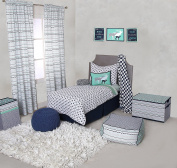 Bacati Noah Tribal Triangles/Feathers/Bucks Cotton Muslin 4 Piece Toddler Bedding Set, Aqua/Orange/Navy