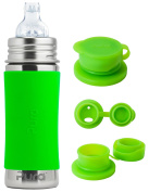 Pura Kiki Stainless Steel 330ml Toddler Sippy Bottle with Green Silicone Plus 1 Big Mouth Sport Top