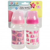 Cudlie! 2 Pack 330ml Baby Bottles With Elephant Print