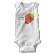YiYa Infants Boy's & Girl's Strawberry Short Sleeve Jumpsuit Outfits For 0-24 Months White