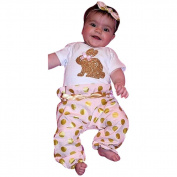 FEITONG Toddler Infant Baby Boy Girl Romper Tops+Dot Pants+Headband