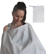 Nursing Cover for Breastfeeding in Light Grey Swirl EXTRA WIDE for Full Coverage - Breathable 100% Cotton , AZO Free and free of Harmful Chemicals