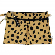 Waterproof Wristlet Clutch - Nappy Clutch with Front Dry Pocket, Cloth Nappy Wet Bag, Small Nappy Bag, Wet Wipes Case or Carrier - Made in USA