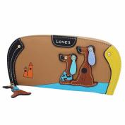 Anshinto Women Stitching Puppy Dog Zipper Coin Purse Long Wallet Card Holders Portable Handbag