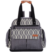 Lekebaby Nappy Bag Backpack Messenger for Mom with Expandable Bottom, Large High Capacity, Grey