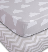 Changing Pad Cover, 2 Pack Unisex Clouds/Chevron Design, Fitted Soft Jersey Cotton, Baby Bedding Sheets for Cradle Bassinet, Fits Standard Contour Changing Table Pads