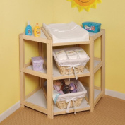 Beautiful Top Selling Infant Baby Veneer Wood Nappy Changing Table With Storage Organising Shelves- Safe Sturdy Safety Belt Included- Soft Terry Fabric Cover Inc- Perfect Baby Care- Natural Finish