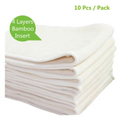 Mumsbest 4 Layers Bamboo Inserts Reusable Washable Nappy Liners for Babies Nappy 10pcs/pack