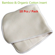 Mumsbest 4 Layers Organic Bamboo Cotton Inserts Reusable Washable Nappy Liners for Babies Nappy 10pcs/pack