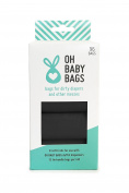 Oh Baby Bags Bulk Refill Box - Recycled Scented Disposable Plastic Bags for Dirty Nappies and Other Messes - Refills Only - 8 Rolls, 96 Bags Total - Black Unscented