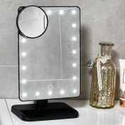 GloBrite 20 LED Touch Screen Lighted Makeup Mirror with Removable 10x Magnifying Mirror