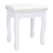 Dressing Table Stool, White Vintage Padded Piano Chair Makeup Seat, 28x37x45cm