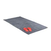 Relaxdays Bath Mat in 80 x 150 cm, Washable Bathroom Rug, Bath Carpet for Heated Floors, Grey