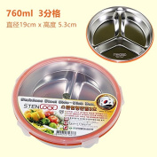 Reusable Food Container/ Food Storage Boxes, Round Steel Boxes , Preservation Boxs Sealed Boxes , Food Casket Bisque -760Ml