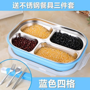 Reusable Food Container/ Food Storage Boxes, 304 Stainless Steel Boxes Children Keep Warm Bento Box , Blue ( 4 ) Of The Addition Of Cutlery