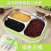 Reusable Food Container/ Food Storage Boxes, 304 Stainless Steel Boxes Children Keep Warm Bento Box , Green Grid (3) To The Tableware