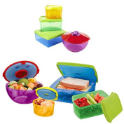 SMARTSTORE 13 Pc HEALTHY LUNCH BOX KIT -Portion Control Container Set, WEIGHT LOSS -Removable Ice Packs