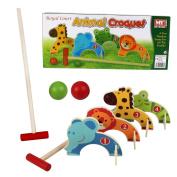 KIDS WOODEN ANIMAL CROQUET GOLF TOY SET GARDEN OUTDOOR CHILDRENS PLAY FUN GAME