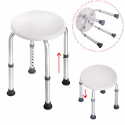 JAXPETY 7 Height Adjustable Stool Bath Bench Lightweight Shower with Non-Slip Seat Round , White
