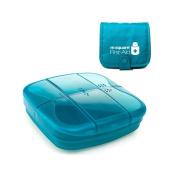 Huluwa Pill Box Protable Pill Organiser, Pill Dispenser Medicine Case with Multi-Pockets Travel Bag, Blue