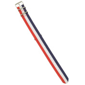 Mens Red-White-Blue Stripe Nylon Watch Band