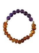 Amber/Amethyst- IMMUNITY + POWER Mala Bracelet by Kuratif - Real Gemstones. Yoga, Meditation & Intention