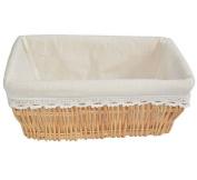 Rectangular Wicker Gift Hamper Storage Basket Shopping Picnic with White Cloth Lining Home & Bathroom Organiser Baskets L-W-H 33-22-13CM