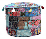 Ottoman Turquoise Pouffe Cover Indian Cotton Decorative Round Foot Stool Covers Handmade Cotton Pouffe Ottomans Comfortable PatchWork Floor Cushion By