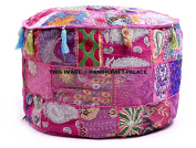 """Indian Traditional Home Decorative Ottoman Handmade Pouffe,Indian Comfortable Floor Cotton Cushion Ottoman Cover Embellished With PatchWork And Embroidery Work,Indian Vintage Pouffe """"Handicraft-Palace"""""""