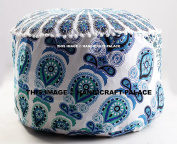 "Indian Floor Pouffe Ottoman Cover pouffe pouffes Foot Stool Peacock Mandala Round By ""Handicraft-Palace"""