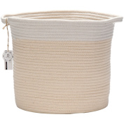 Sea Team 31cm H x 30cm D Bicolor Natural Cotton Thread Woven Rope Storage Basket Bin Hamper with Handles for Nursery Kid's Room Storage