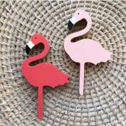 Hiltow 2 Pcs Flamingos Hanger Wooden Hooks Kids Room Wall Decoration Eco-friendly Wall Decor