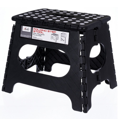 Acko 28cm Non Slip Folding Step Stool for Kids and Adults with Handle, Holds up to 110kg (Black)