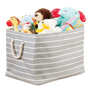 mDesign Fabric Round Bin with Handles for Baby Nursery Storage to Hold Baby Clothes, Blankets, Towels - Large, Grey/Cream