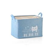 Fieans Fabric Storage Bin Organiser Basket with Handles for Clothes Storage,Toy Organiser-Blue