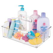 mDesign Baby Nursery Storage Organiser Tote with Handle for Lotion, Wipes, Nappies - Clear