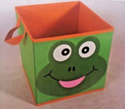 Kids Green Frog Storage Bin 28cm Square Canvas for Toys Books Shoes