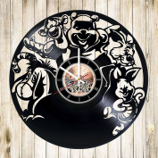 Cartoon Characters Vinyl Record Wall Clock - Nursery Room wall decor - Gift ideas for kids, teens, children - Funny Cartoon Unique Art Design