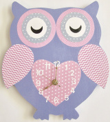 Nursery Wall Clock, Nursery Owl Clock, Hanging Owl Clock, Children's Room Wall Clock, Owl Wall Clock, Kid's Room Owl Wall Clock